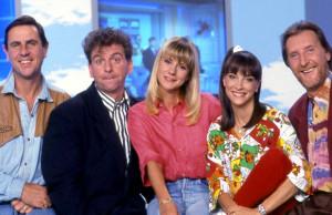 L'équipe du Club Dorothée (Dorothée, Ariane, Jacky, Corbier et Patrick) en 1990