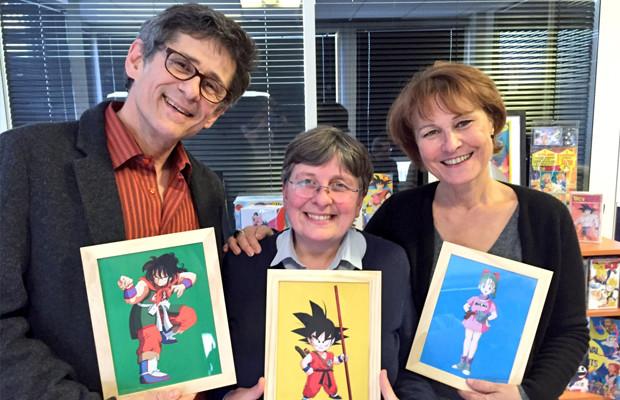 Eric Legrand, Brigitte Lecordier et Céline Monsarrat, les voix françaises de Dragon Ball, dans les bureaux de Génération Club Do